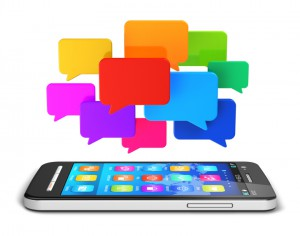 Mobile communication and social media concept